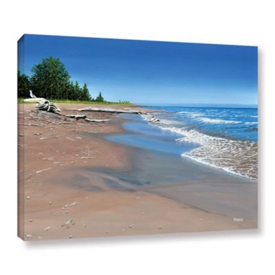 Brushstone Driftwood Beach Gallery Wrapped CanvasWall Art
