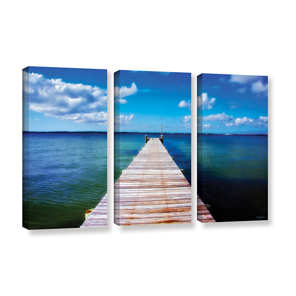 Brushstone Empty Pier 3-pc. Gallery Wrapped CanvasWall Art