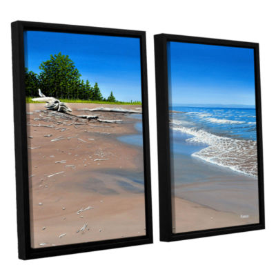 Brushstone Driftwood Beach 2-pc. Floater Framed Canvas Wall Art