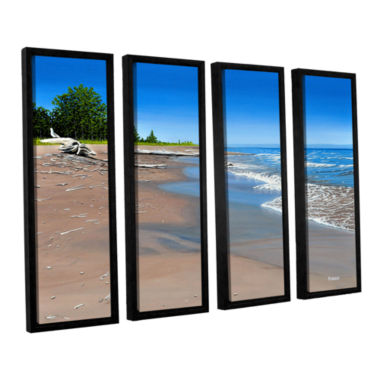 Brushstone Driftwood Beach 4-pc. Floater Framed Canvas Wall Art