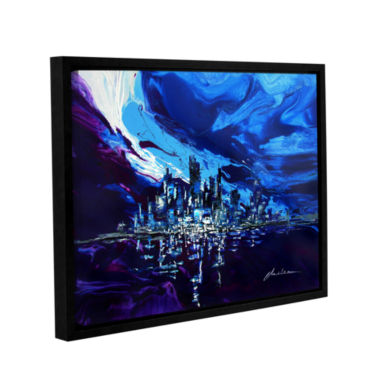 Brushstone Distorted Reflection Gallery Wrapped Floater-Framed Canvas Wall Art