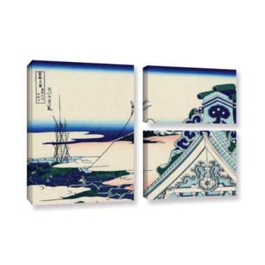 Brushstone Asakusa Honganji Temple In Th Eastern Capital 3-pc. Gallery Wrapped Canvas Wall Art
