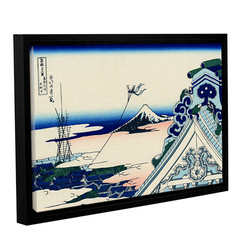 Brushstone Asakusa Honganji temple in the Eastern capital Gallery Wrapped Floater-Framed Canvas Wall Art