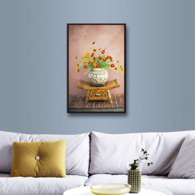 Brushstone Asian Floral Gallery Wrapped Floater-Framed Canvas Wall Art