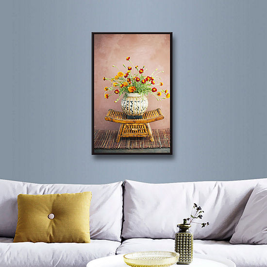 Brushstone Asian Floral Gallery Wrapped Framed Canvas Wall Art
