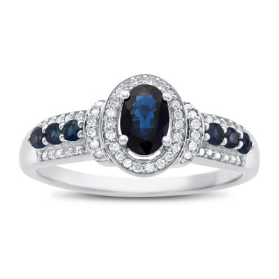Womens 10K Gold Genuine Blue Sapphire & 5/8 CT. T.W. Diamond Cocktail Ring