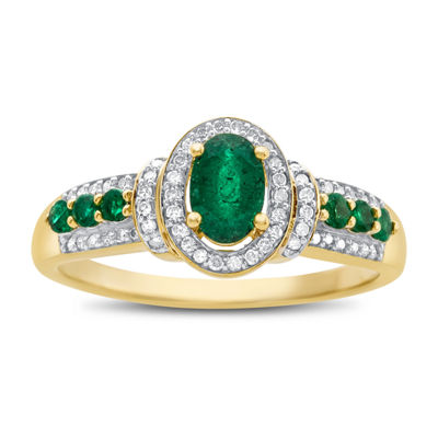 Womens Genuine Emerald & 1/10 CT. T.W. Diamond 10K Gold Cocktail Ring