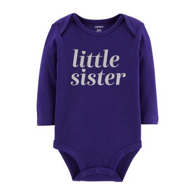 Carter's Slogan Long Sleeve Bodysuits - Girls NB-24M