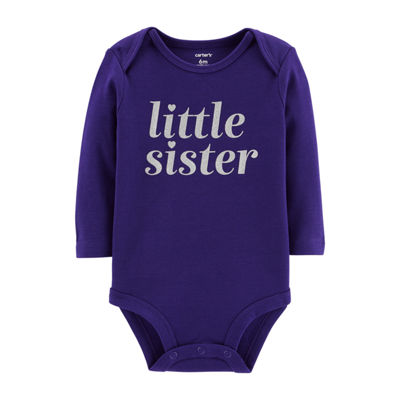 Carter's Slogan Long Sleeve Bodysuits - Girls NB-24M