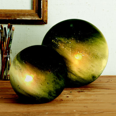 Two's Company Green Galaxy Set Of 2 Deep Green Table Lamps