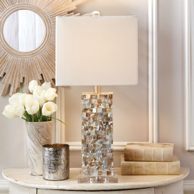 Two's Company Mother Of Pearl Squares Table Lamp With Shade