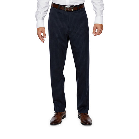 Collection by Michael Strahan  Blue Striped Classic Fit Stretch Suit Pants