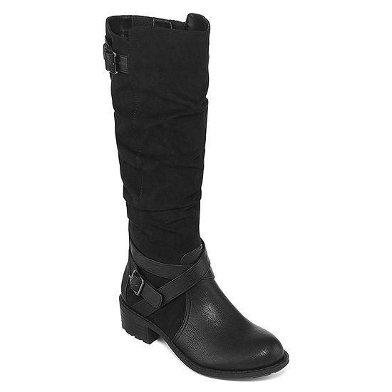 51a62a74c4a9b St. John s Bay Womens Debra Riding Block Heel Zip Boots - JCPenney
