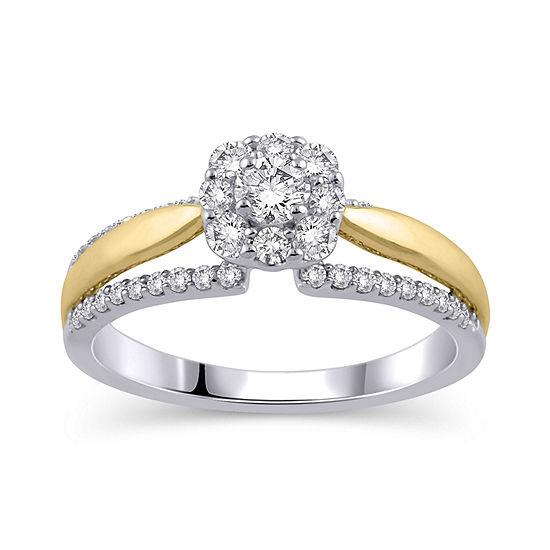 Womens 5/8 CT. T.W. Genuine White Diamond 10K Gold Engagement Ring