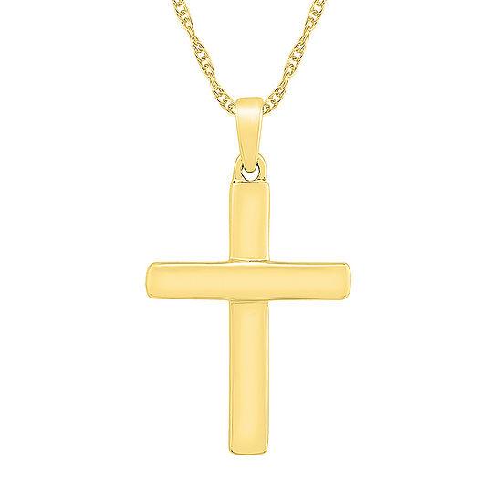Womens 10K Gold Cross Pendant Necklace