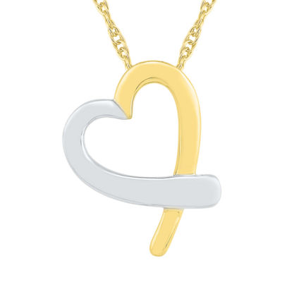 Womens 10K Two Tone Gold Heart Pendant Necklace