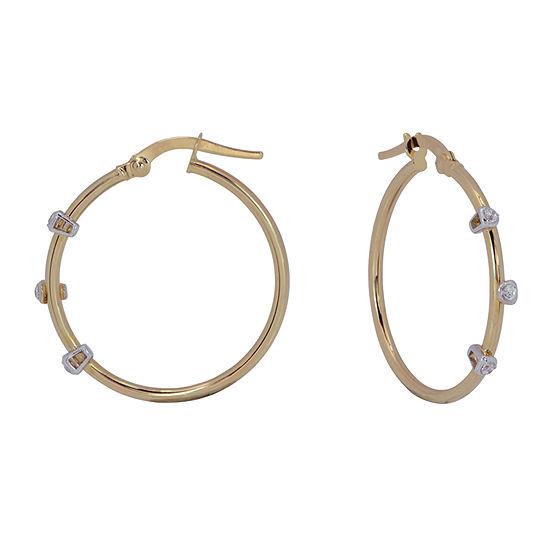 White Cubic Zirconia 14K Gold 24mm Hoop Earrings