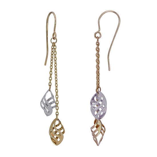 14K Two Tone Gold Drop Earrings