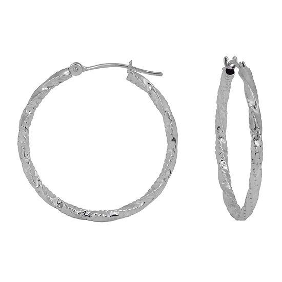 14K White Gold 25mm Hoop Earrings