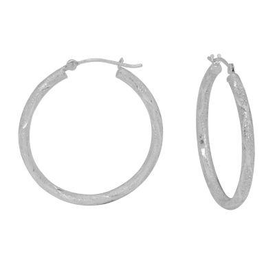 14K White Gold 28mm Hoop Earrings