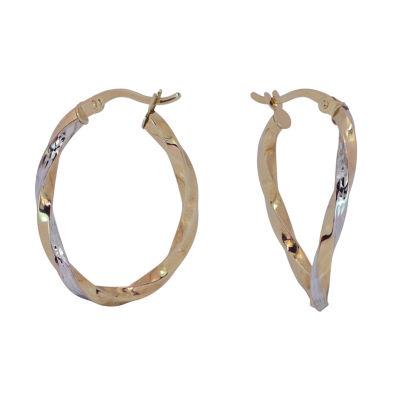 14K Two Tone Gold 24mm Hoop Earrings