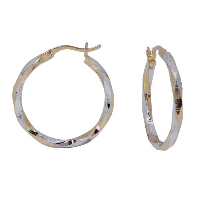 14K Two Tone Gold 21mm Hoop Earrings