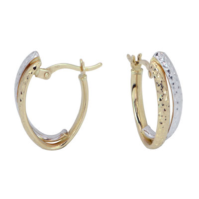 14K Two Tone Gold 18mm Hoop Earrings