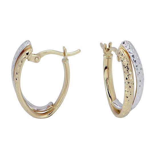 14K Two Tone Gold 18mm Hoop Earrings