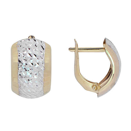 14K Two Tone Gold 15mm Hoop Earrings