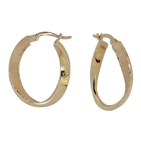 14K Tri-Color Gold 23mm Hoop Earrings