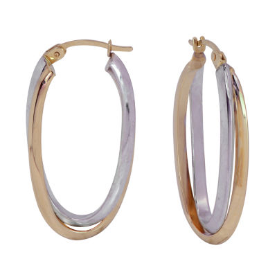 14K Two Tone Gold 30mm Hoop Earrings