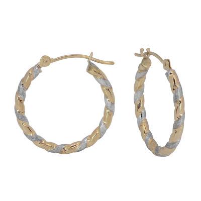 14K Two Tone Gold 26mm Hoop Earrings