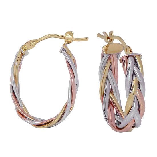 14K Tri-Color Gold 19mm Hoop Earrings