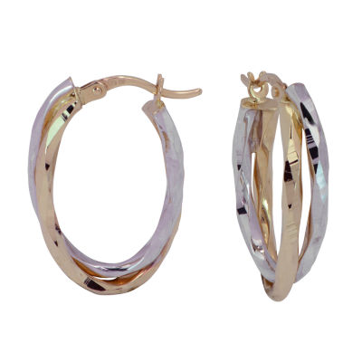 14K Two Tone Gold 24mm Hoop Earrings
