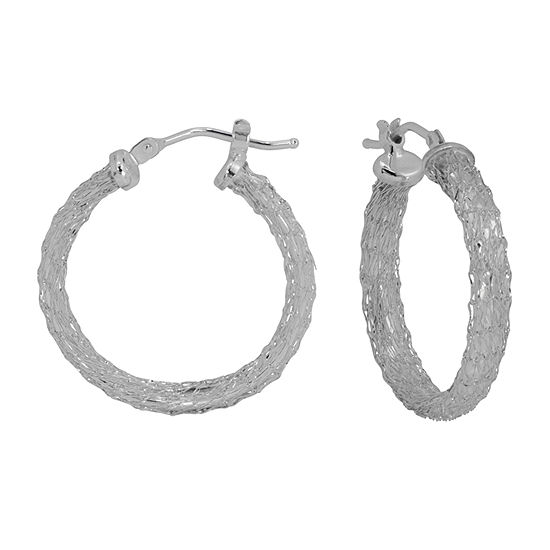 14K White Gold 23mm Hoop Earrings