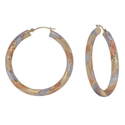 14K Tri-Color Gold 38mm Hoop Earrings