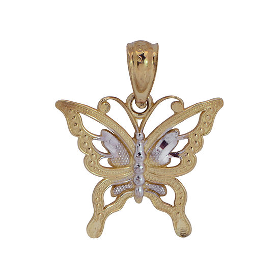 Womens 14K Two Tone Gold Butterfly Pendant
