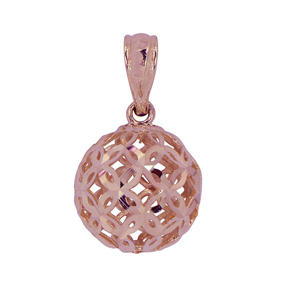 Womens 14K Rose Gold Round Pendant