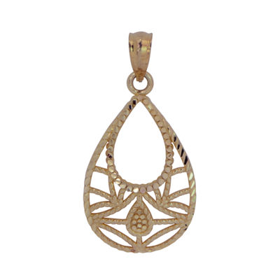 Womens 14K Gold Pear Pendant