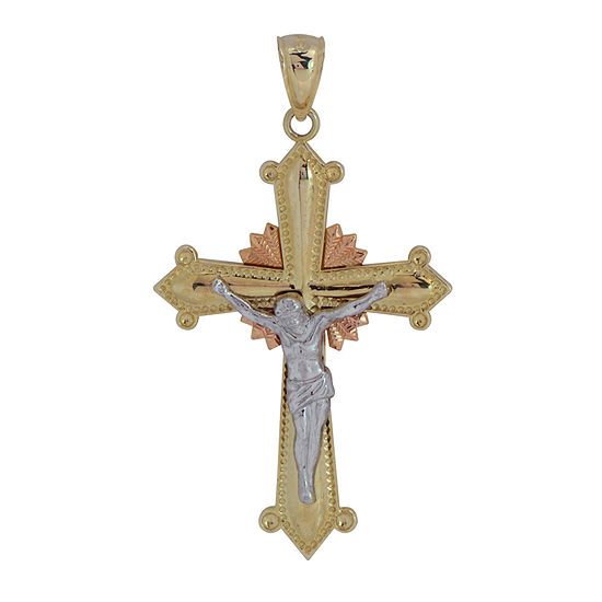 Womens 14K Tri-Color Gold Cross Pendant