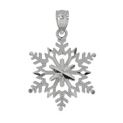 Womens 14K White Gold Snowflake Pendant