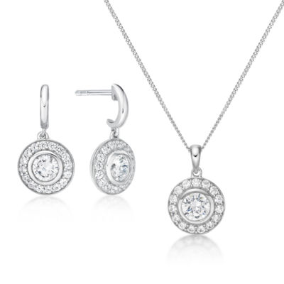 Diamonart 2 1/2 CT. T.W. White Cubic Zirconia 2-pc. Jewelry Set
