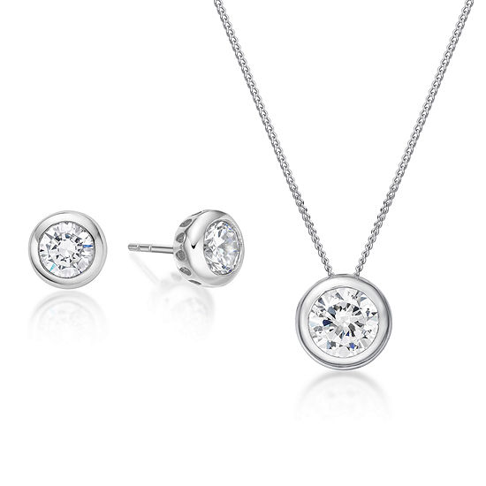 Diamonart 2 3/4 CT. T.W. White Cubic Zirconia Sterling Silver 2-pc. Jewelry Set