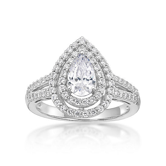 Diamonart Womens 1 1/3 CT. T.W. White Cubic Zirconia Sterling Silver Pear Cocktail Ring