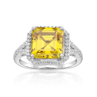 Diamonart Womens 5 3/4 CT. T.W. Yellow Cubic Zirconia Cocktail Ring