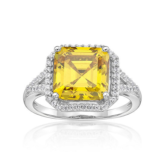 DiamonArt® Womens 5 3/4 CT. T.W. Yellow Cubic Zirconia Sterling Silver Cocktail Ring