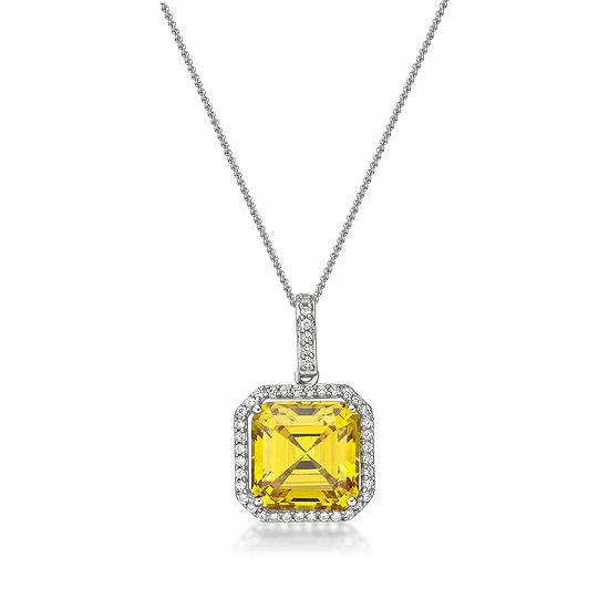Diamonart Womens 5 3/4 CT. T.W. Yellow Cubic Zirconia Sterling Silver Pendant Necklace