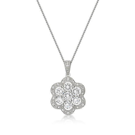 Diamonart Womens 1 1 5 Ct Tw White Cubic Zirconia Sterling Silver Pendant Necklace