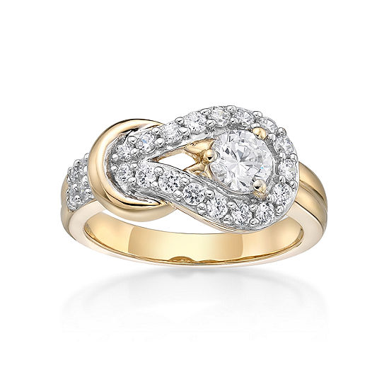 Diamonart Womens 7/8 CT. T.W. White Cubic Zirconia 14K Gold Over Silver Knot Cocktail Ring