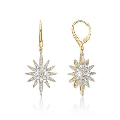Diamonart 1 7/8 Ct. T.W. White Cubic Zirconia 14K Gold Over Silver Star Drop Earrings